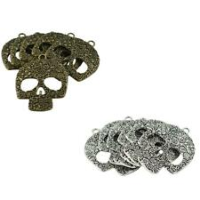 6Pcs Vintage Hollow Flower Pattern Skull Charms Pendants Jewellery Finding