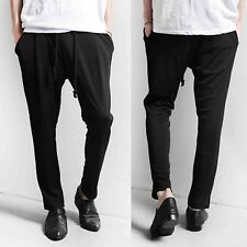 Men Casual Black Drawstring Elastic Stretch Waist Dress Pants Bottoms Trousers