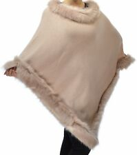 Women's Faux Fur Trim Poncho Knitted Wrap Pull On Cape Closure