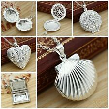 Fashion Elegant 925 Sterling Silver Heart Picture Photo Locket Pendant Necklace