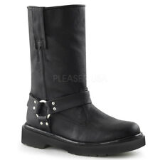 Demonia Rival-303 Black Vegan Leather Biker Boots - Size 6 (US Women's) - Gothic