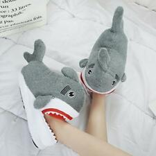 Men And Women Cotton Warm Short Plush Slippers Indoor Shoes Shark Home Slippers