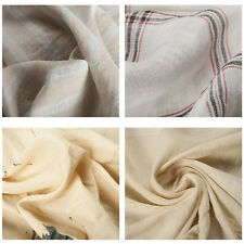Premium Quality 100% Linen Pattern Print Fabric Upholstery Crafts Bedding Check