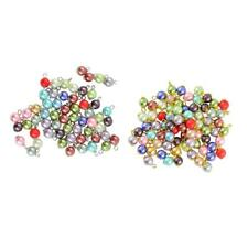 50pcs Mixed Color Faux Pearls Charms Glass Beads Pendant Flat Daisy Flower