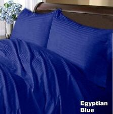 1000TC EGYPTIAN COTTON FITTED/FLAT/DUVET/BED-SKIRT US-SIZES EGYPTIAN BLUE STRIPE