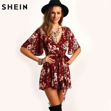 SHEIN Shorts Rompers Womens Jumpsuits Red V Neck Short Sleeve Floral Tie Waist C