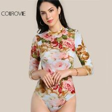 COLROVIE Floral Print Casual Bodysuit Mock Neck Women Elegant 3/4 Sleeve Skinny