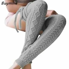 Winter Over Knee Socks Fashion Bandage Warm Stockings Women Crochet Knitted Boot