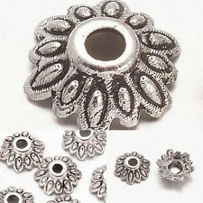 Silver Plated Fancy Flower Bead Caps Cones Fits 8 - 10mm Beads Jewelry Making
