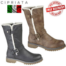 Cipriata Donna Ladies Side Zip Buckle Mid Calf Boots Womens Urban Fashion Shoes