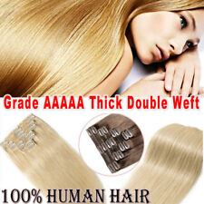 Premium Clip In Human Hair Extension Remy 100% Real Double Weft Full Head UK LIN
