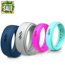 Silicone Wedding Rings | Wedding Bands for Men and Women- 4 Ring pack - RINFIT