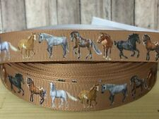 """3 or 5 yards 7/8"""" brown HORSE LOVERS grosgrain ribbon- FLAT RATE SHIPPING"""