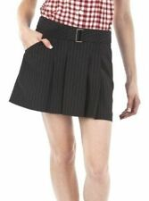 JEAN PAUL GAULTIER SKIRT Pleated Pinstripe Mini with Belt & Pockets BLACK NWT