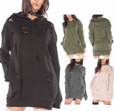 NEW STYLE WOMENS RIPPED OVER-SIZED LONG LINE LADIES HOODED SWEATSHIRT DRESS TOP