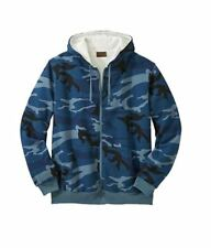 NEW MEN'S PLUS SIZE  Thermal Lined Full-Zip Hoodie XL - 8XL CAMO OR SOLID