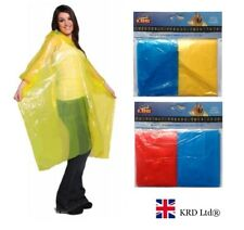ADULT EMERGENCY PONCHO Waterproof Rain Coat Cape Mac Disposable Festival Camping