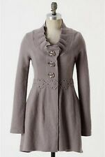 Anthropologie Charlie & Robin Alice In Autumn Sweater Coat gray 100%wool
