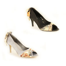 WOMENS LADIES WEDDING PEEP TOE FLORAL HIGH HEEL COURT SHOES SANDALS SIZE 3-8