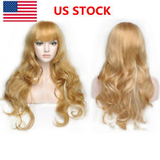 US Women Fluffy Long Blonde Gradient Wavy Curly Hair Cospaly Party Wig+Wig Cap