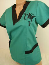 New Women Nursing Scrub Hunter Green Black Embroidery Butterfly Poly/Cotton