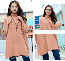 Women's Fashion Pure Color Bat Wing Sleeve Knitted Acrylic Loose Long Sweaters