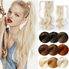 Long Thick Straight Curly Clip In On Natural Ponytail Wrap Pony Tail Extensions