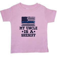 Inktastic Uncle Is A Sheriff Law Enforcement Baby T-Shirt Niece Nephew Job Flag