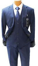 Angelo Rossi Navy Pinstripe Vested Modern Fit Suit Mens Suits