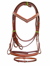 New snaffle leather bridle TAN with white diamonte + rein full, cob & Pony