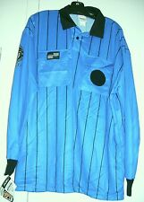 Official Sports Soccer Referee Jersey Long Sleeves Blue /Black Adult ( L )