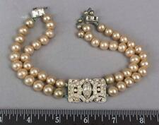 Vintage Faux Pearl Rhinestone Choker Necklace Costume Jewelry 1950s 1960s mv
