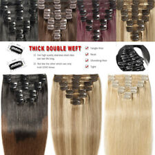 Double Weft THICK Clip In Remy 100% Real Human Hair Extension Full Head Ombre UK