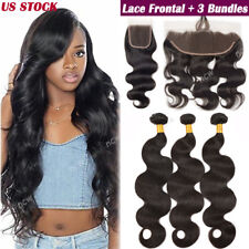 Brazilian 3 Bundles Unprocessed Virgin Human Hair Extension with Lace Closure US