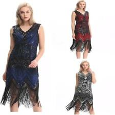 dress gatsby flapper 1920s size beaded vintage 8 fringe sequin s uk 22 14 great