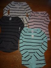 """VICTORIAS SECRET PINK """"LOVE PINK"""" STRIPED THERMAL SCOOPNECK NWT"""