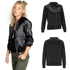 Fashion Vintage Biker Classic Jacket Bomber Ladies Thin Coat Women's Zip Up