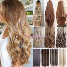 US Real Thick AS Human Hair 1Piece Half Full Head Clip In Hair Extensions Wavy