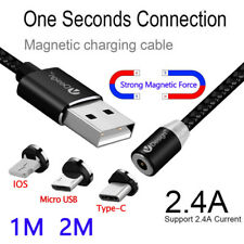 3Pcs 3/6FT 2.4A Magnetic Plug Micro USB/Type C /IOS Fast Charger Cable Cord Line