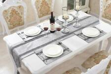 Silver Table Runner Placemat Set Flocked Damask Chenille Home Party Decoration