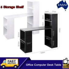 Computer Desk Table w PC Stand w 6 Storage Shelving Book Shelf Study Office RYT