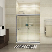 "SUNNY SHOWER Semi-Frameless Bypass Sliding Shower Doors 5/16"" Heavy Glass Doors"
