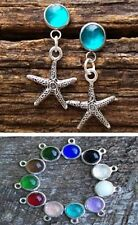STARFISH CHARM Post Pierced Earrings ~ Pewter / Vintage Glass Bottle~ 11 Colors