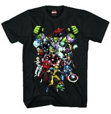 AWESOME MARVEL NOW T-SHIRT - BLACK 100% COTTON - WOLVERINE, HULK, SPIDER-MAN