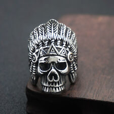 Gothic Rock Carved Indian Chief Skull Ring Rider Biker Mens Ring Silver US7-13