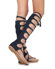 New Women Top Show M64-2 Knee High Lace Up Thong Gladiator Flat Sandal