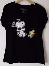 PEANUTS SNOOPY WOODSTOCK DANCING GRAPHIC TEE T-SHIRT BLACK BRAND NEW WOMENS