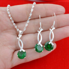 925 Solid Silver Natural Emerald Women Jewelry Set Necklace Drop Dangle Earrings