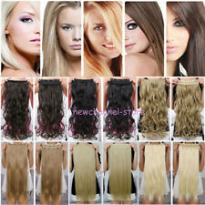 US 100% Thick AS Human Hair One Piece Full Head Clip In Hair Extensions Straight