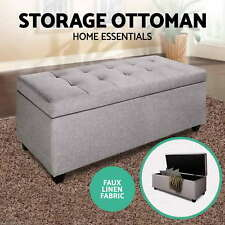 Blanket Box Storage Ottoman PU Leather Fabric Chest Toy Clothes Foot Stool Bed S